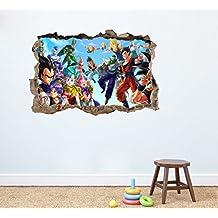 Dragon Ball Z redondo adhesivo de pared Home Decor Dormitorio Infantil Guardería Mural de Sala de juegos Adhesivo 75x 50cm Peel and Stick
