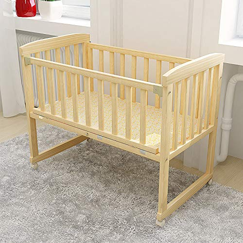 HEEGNPD Wiegen Baby Wiege Naturholz kann für Büro Schaukelstuhl Bett Kinder 0-3 Jahre alt Baby ändern Moskitonetz,small