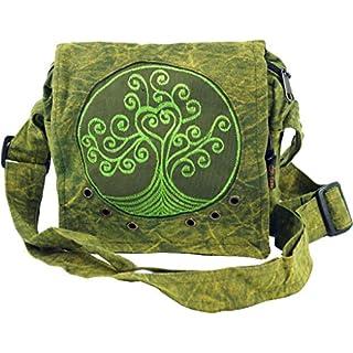 Guru-Shop Ethno Schultertasche, Nepaltsche Stonewash `Tree of Life`- Grün, Herren/Damen, Baumwolle, Size:One Size, 20x20x7 cm, Alternative Umhängetasche, Handtasche aus Stoff