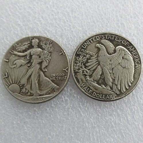 Bespoke Souvenirs Rare Antique USA United States 1936-D Walking Liberty Half Dollar Silver Color Coin Seltene Münze