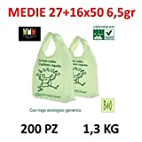 PREZZO LIGHT shopper biodegradabili e compostabili 200 pezzi cm 27x50 bio biodegradabili e compostabili gr 6,5 UNI 13432 ideali per umido organico Sacchetti Green