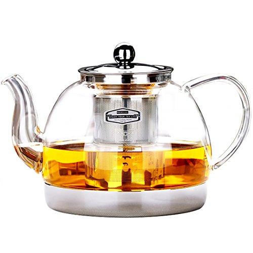 Klar Glas hitzebeständig-Ei Teekanne Induktion Herd Wasserkocher Tee 1200ml, edelstahl, 1200ML Wasserkocher Für Den Herd