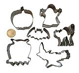 Royal Houseware, set di formine per biscotti, in acciaio inossidabile, per Halloween, strega, gatto, zucca, fantasma, gufo, fantasma, mostro, per dolci, 6 formine