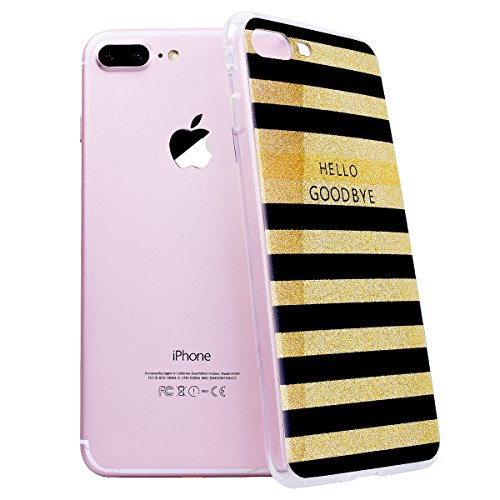 """WE LOVE CASE iPhone 7 Plus Hülle Glitzern Transparent Durchsichtig Farbe iPhone 7 Plus 5,5"""" Hülle Silikon Weich Diamond Handyhülle Tasche für Mädchen Elegant Backcover , Soft TPU Flexibel Case Handyco Stripes"""