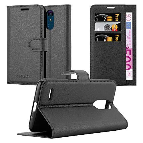 Cadorabo Hülle für LG K9 - Hülle in Phantom SCHWARZ - Handyhülle mit Kartenfach & Standfunktion - Case Cover Schutzhülle Etui Tasche Book Klapp Style