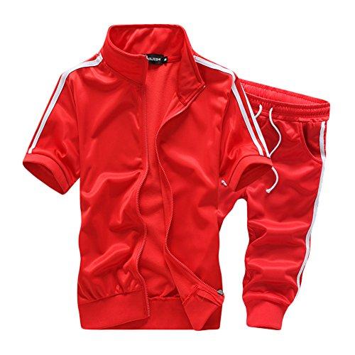 Herren Lässig Reißverschluss T-Shirt Polo Hemd Kurz Sporthose Zweiteiliger Sportanzug Kurzarm Trainingsanzug Rot M