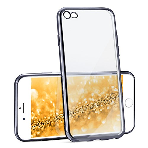 iPhone 7/8 Hülle Silikon Transparent Anthrazit [OneFlow Chrom Back-Cover] Silikonhülle Dünn Schutzhülle Handyhülle für iPhone 7/8 Case Ultra-Slim Tasche TPU ANTHRACITE-BLACK