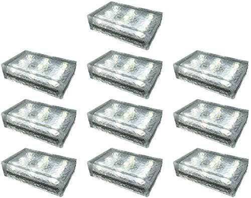 10 Stück FUCHS Solar Pflasterstein in warmweiss 23x15x6 cm - zur Wegbeleuchtung (Rutschfest)