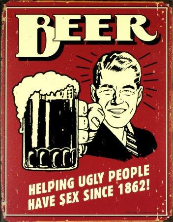 Cartel de chapa 'Cerveza', Tamaño: 30 x 41 cm