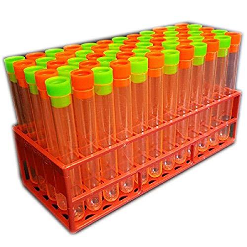 (60x Orange Neon Reagenzgläser mit Pfropfen und Halloween themed Tablett)