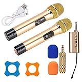 Denash Microfono Wireless UHF, Doppio Microfono con Ricevitore Mini Bluetooth, orario di Lavoro da 10 a 12 Ore, Nero/Oro (Opzionale)(Oro)