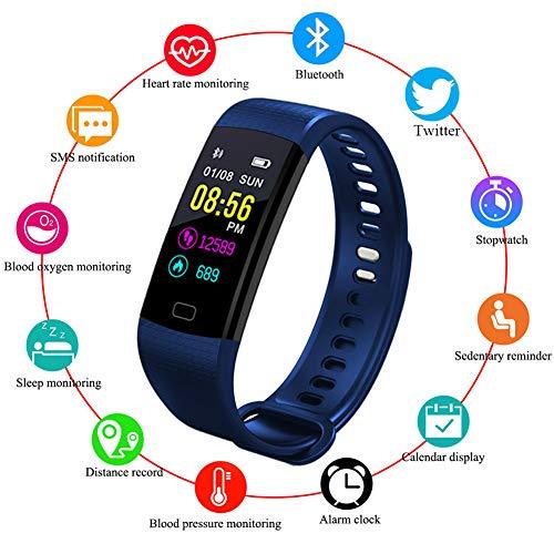 LIGE Fitness Trackers,Outdoor Sportarten Intelligentes Armband Farbdisplay Wasserdicht Sportuhr Mit Pulsmesser Schlafüberwachung Aktivitäts Tracker Schrittzähler Blau Sport Armband Für Android/iOS