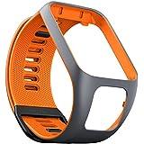 TomTom - Bracelet pour Montre TomTom Runner 3, Spark 3, Runner 2 & Spark Taille Large Gris/Orange (ref. 9UR0.000.05)