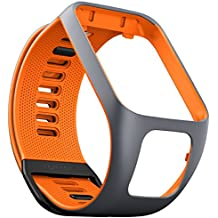 TomTom Wechselarmband für TomTom Spark 3 / Spark / Runner 3 / Runner 2 GPS-Uhren, Grau/Orange, Größe L