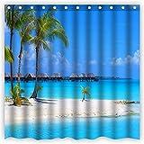 Violetpos Duschvorhänge Palmen Sonnenlicht Blaues Meer Himmel Kunst Duschvorhang Badezimmer Dekorative 180 x 180 cm