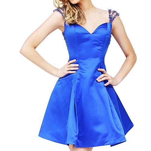 Charmant Damen Elegant Satin Schulterfrei Steine Kurz Abendkleider Partykleider Heimkehr Tanzenkleider MIni Royal Blau