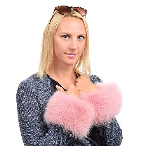 FOX FASHION Pelzmanschetten aus rosa Fuchsfell Pulswärmer Armstulpen Pelz Fuchs pink Fell Stulpen Manschetten Fellstulpen Echpelz Echtfell Echt Fox Muff