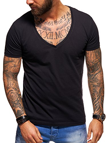 behype. Herren Kurzarm Basic T-Shirt Deep V-Neck 20-0005 Schwarz S
