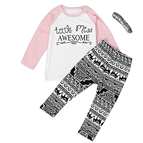 Fulltime(TM) Toddler Baby Kids Girls Clothes T-shirt + Pants Leggings + Headband Outfits Sets (3-4 Years)
