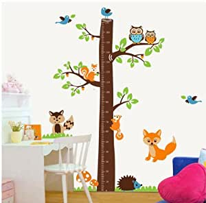 Large jungle owl tree wall sticker baby boys girls bedroom growth chart decal woodland fox squirrel hedgehog wall decor for baby nursery removable (180cm height) by OEM