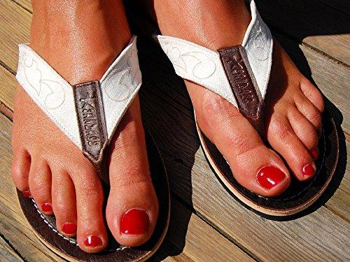 SEESTERN Damen Leder Zehentrenner Zehensandale Zehensteg Sandalen in Größe 36-44 Weißtöne KVpQ0ybU