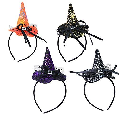 UClever 4 Stück Hexenhut Stirnband mit Spinnennetz Halloween Kostüm (Spinnennetz Haar Kostüm)