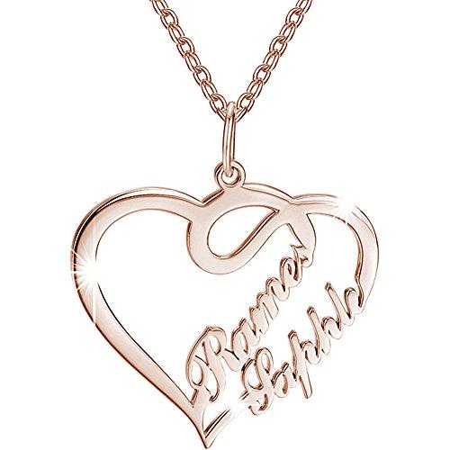 Soufeel Damen Kette mit Herz Anhänger Offen Halskette Namenskette mit Ihr Namen 925 Sterling Silber...