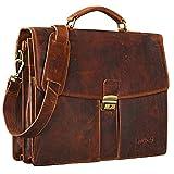 STILORD 'Julian' Aktentasche Leder Elegant Klassische Businesstasche mit Schloss groß aufsteckbar Bürotasche echtes Leder vom Rind, Farbe:kara - cognac