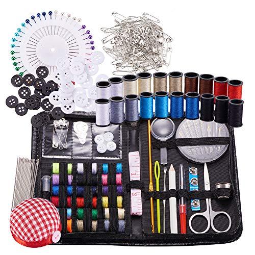 BENECREA Kits de costura y tricotosas, 272 piezas Suministros de costura con botones y broches y tijeras y lápiz y costura Hilos y agujas de tejer y ganchillo ganchos y tela Cojín de aguja