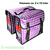 Fahrrad Gepäckträgertasche Seitentasche o. Doppeltasche 4 Farben Punkte 01170425 (Doppeltasche Violett)