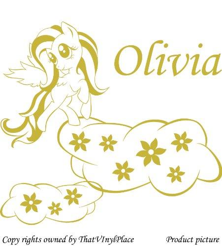 personaliced My Little Pony Adesivi, Nuvole, fiori 60cm x 55cm colore oro metallico nome, qualsiasi nome, Disney, per camera da letto, stanza dei bambini, Vinile auto adesivi, Windows e adesivi da parete, Muro di Windows Art, decalcomanie, Ornamento vinile