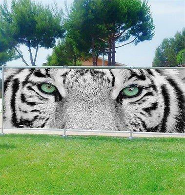 Stickersnews - Brise vue déco personnalisé jardins, terrasses et balcons Tigre réf 3612 Occultation - 100%, Dimensions - 180x70cm