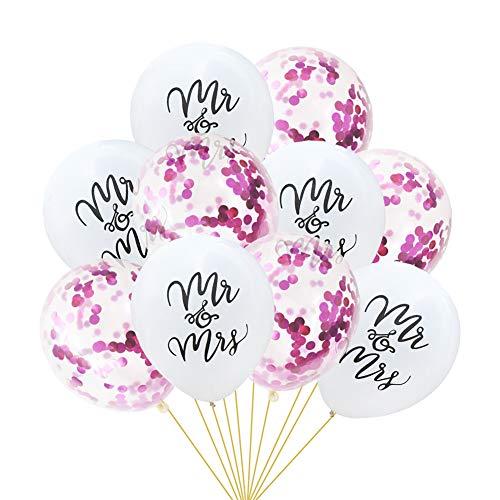 Tumao 10 Stück Mr.& Mrs Latexballon Konfetti Luftballons, Ideal für Hochzeit, Junggesellinnen-Abschied, Hen Party, Hochzeits-Deko. (lila)