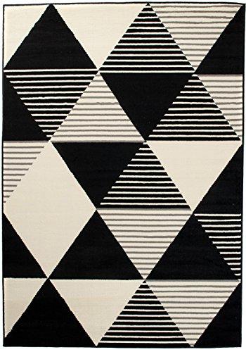 Art Deco Teppiche (Moderner Designer Teppich - Für Ihre Zuhause - Grau Weiß Schwarz - 250 x 300 cm - Geometrisches Muster -