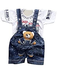BabyMart Baby Boy's & Girl's Applique Printed Cotton Dungaree with T-Shirt(Blue, 3-6 Months)