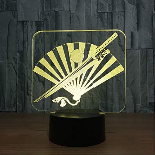 Japans samurai schwert fan 3d nachtlicht led bunte usb tischlampe led dekorative innenlampe für geschenk