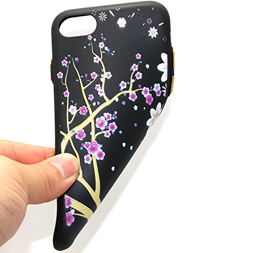 iphone 7 Silicone Cover, Custodia iphone 7 4.7 Morbido, iphone 7 Nera Cover, Ekakashop Varnish Clear Coating Sollievo Painting Fiori Colorato Pattern 3d Gel Silicone Gomma Soft TPU Ragazza Women Black Fiore di prugne