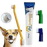 CIDBEST Dentifricio per cani, Dentifricio per cani piccoli, Dentifricio & Spazzolino per la pulizia quotidiana dei denti di cani e gatti - Sapore di manzo