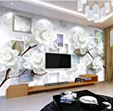 Tapete Moderne Einfache Ästhetische Weiße Pfingstrose 3D Stereo Tv Mural Background Wall Para Quarto (B) 200X (H) 169Cm