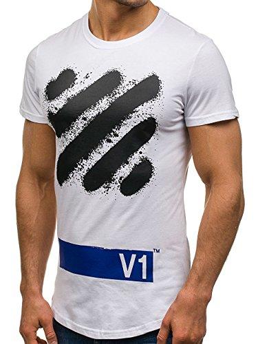 BOLF Herren T-Shirt Tee Kurzarm Rundhals Classic Aufdruck Print Motiv MIX Weiß_S080