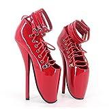 Botas Botines para Mujer Fetiche Zapatos con Tacon Alto para Mujer Plataforma Cremallera Hebilla Dorado Tacón de Aguja Alto 18cm, Cosy-L, 43