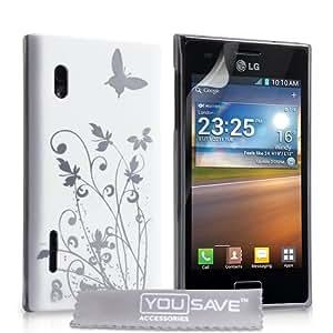 LG Optimus L5 E610 Tasche Optimus L5 Weiß / Silber Harte Blumen Schmetterling Hülle