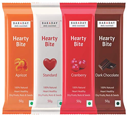 BarADay Hearty Bite Natural Energy Bars, 50 Gm (Assorted, Pack of 8)