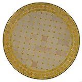 Mediterraner Gartentisch marokkanischer Mosaiktisch Ø 70 cm rund gelb terrakotta mit Gestell H 73 cm  Kunsthandwerk aus Marrakesch | Dekorativer Balkontisch Bistrotisch Beistelltisch  MT2087