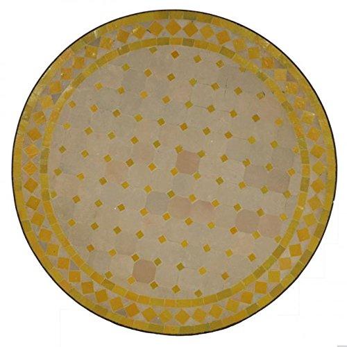 Casa Moro Mediterraner Gartentisch marokkanischer Mosaiktisch Ø 70 cm rund gelb terrakotta mit Gestell H 73 cm Kunsthandwerk aus Marrakesch | Dekorativer Balkontisch Bistrotisch Beistelltisch MT2087