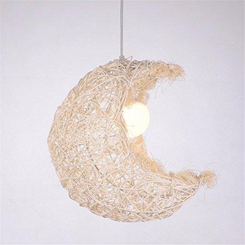 Mond Trommel-kunst (Larsure Vintage Modern Deckenleuchte Kronleuchter Pendelleuchte Leuchte Rattan kunst Mond Hängeleuchter in der Lounge, Kaffee Tee licht Studie 300 MM (220-240V))