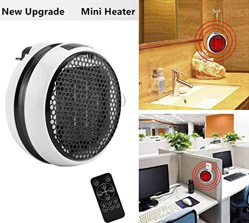 Mini Estufa Eléctrica Calefactor Cerámico de Aire Caliente de Ventilador Portátil Pared...
