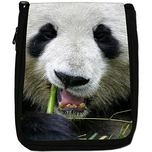 Panda Medium Nero Borsa In Tela, taglia M Close Up Of A Pandas Face