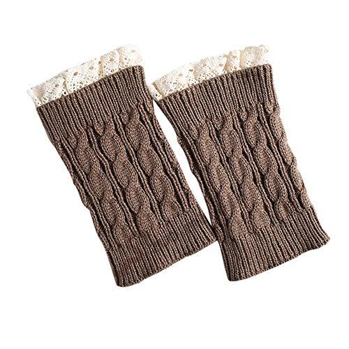 XuxMim Frauen Mädchen Lace Crochet Knit Trim Stiefelmanschetten -