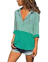 Hevoiok Langarmshirt Damen Herbst Sommer Fashion Casual Streifen Patchwork Top  T-Shirt Blusentop Fraun Lange Ärmel… d3f90d7f24